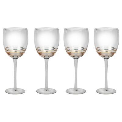 Juego copas espiral oro vino tinto 4 piezas