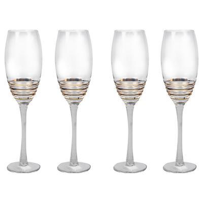 Juego copas espiral oro champaña 4 piezas
