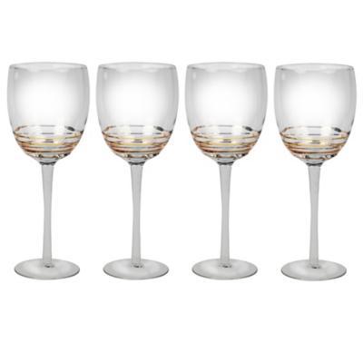 Juego copas espiral oro vino blanco 4 piezas