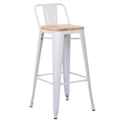 Piso de bar tolix con asiento de madera blanco
