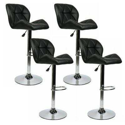 Pack 4 sillas altas de bar con respaldo negro