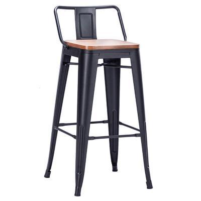 Piso de bar tolix con asiento de madera negro