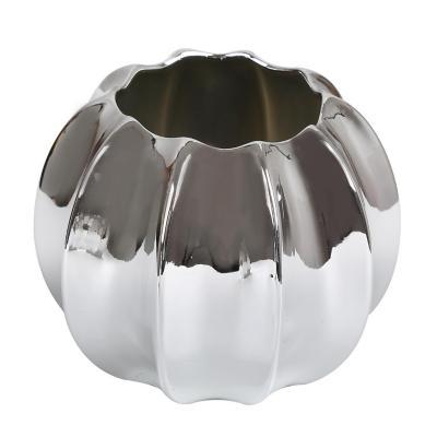 Florero moderno cerámica 12 cm plateado