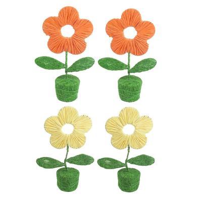 Pack 4 flores decorativa sisal 25 cm multicolor