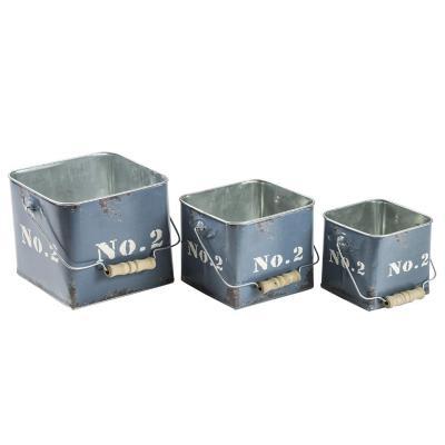 Set de 3 contenedores metálicos azul