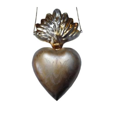Corazón milagro colgante metal 9x4x16 cm plateado