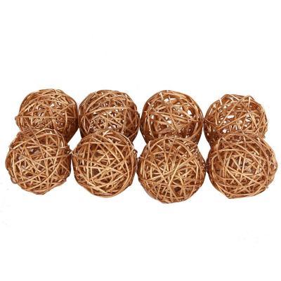 Set 8 bolas rusticas 6 cm doradas