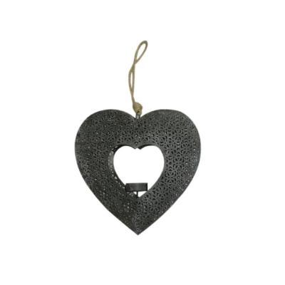 Corazón colgante portavela metal 20x3,5x20 cm gris