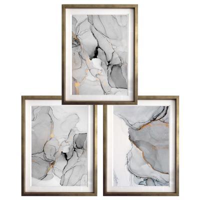 Set 3 cuadros abstractos 50x70 cm marco dorado