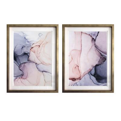 Set 2 cuadros abstractos morado 40x50 marco plata
