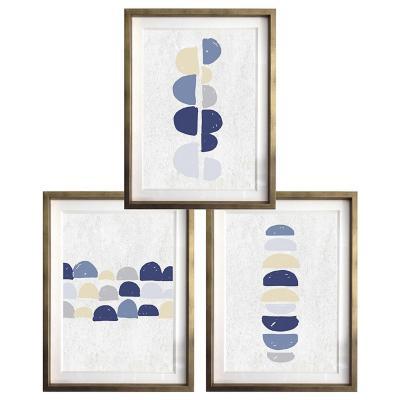 Set 3 cuadros semi circulo azul 40x50 marco dorado