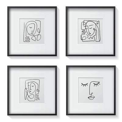 Set 4 cuadros retratos minimalistas 30x30 cm