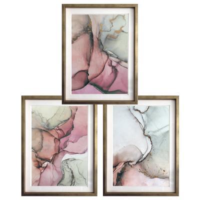 Set 3 cuadros acuarelados rosa 40x50 marco dorado