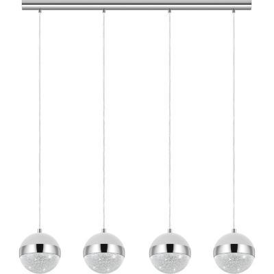 Lámpara colgante acero plata G9 4X3W