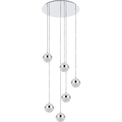 Lámpara colgante acero plata G9 6X3W