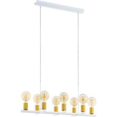 Lámpara colgante acero blanco E27 8X60W