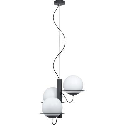 Lámpara colgante acero negro blanco E27 3X40W