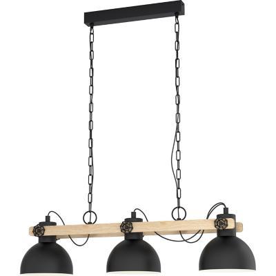 Lámpara colgante acero  madera negro E27 3X28W