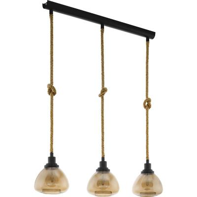 Lámpara colgante acero ámbar E27 3X28W
