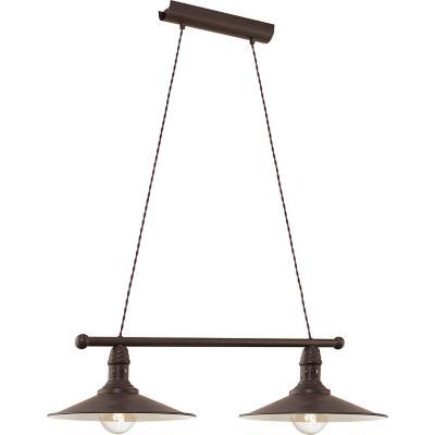 Lámpara colgante acero negro E27 2X60W