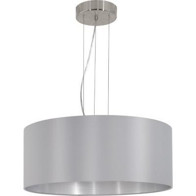 Lámpara colgante acero  níquel satinado gris  plata E27 3X60W