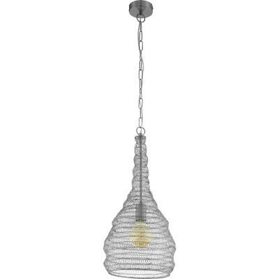 Lámpara colgante acero plata E27 1X60W