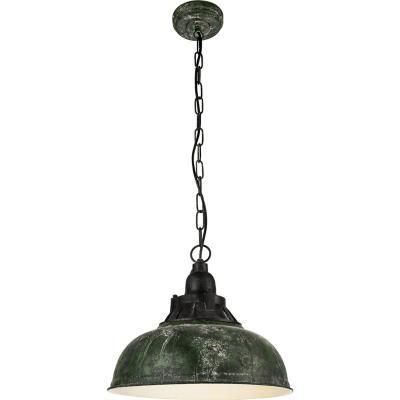 Lámpara colgante acero plástico verde envejecido E27 1X60W