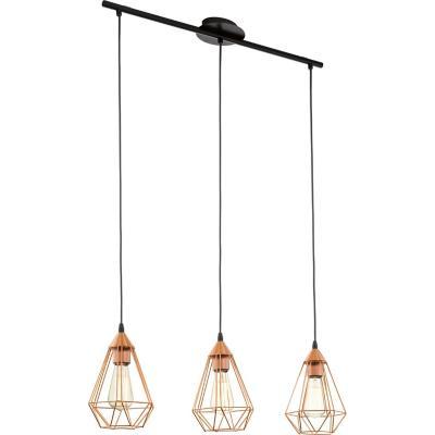 Lámpara colgante acero cobre E27 3X60W