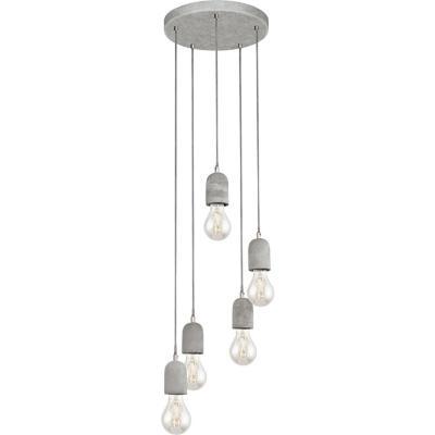 Lámpara colgante acero gris E27 5X60W