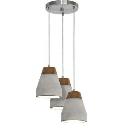 Lámpara colgante acero gris E27 3X60W