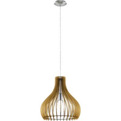 Lámpara colgante acero níquel satinado arce E27 1X60W
