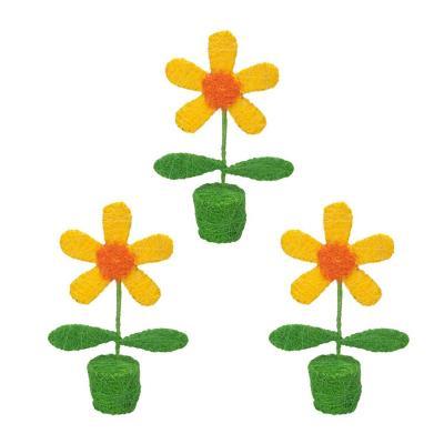 Pack 3 flores decorativas sisal 25 cm amarillo