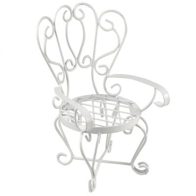 Silla decorativa miniatura metal 29 cm blanco