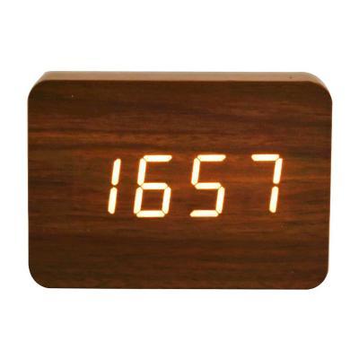 Reloj despertador digital de madera luz led café