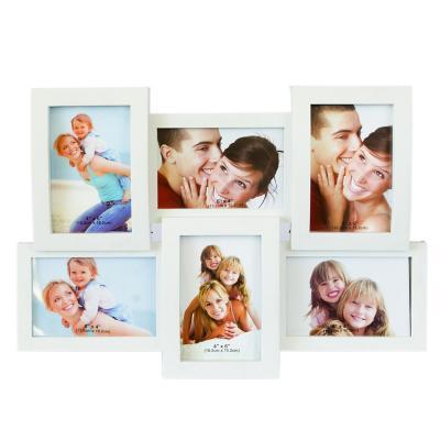 Marco decorativo pared para 6 fotografías blanco