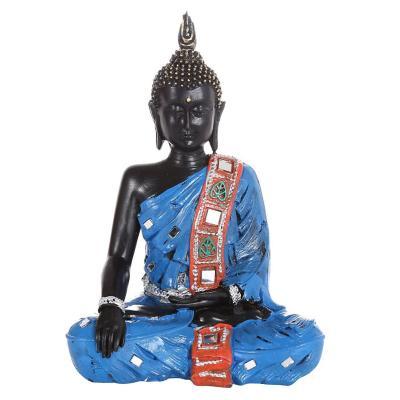 Figura decorativa budda resina 30 cm azul