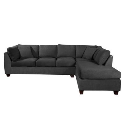 Sofá seccional padua derecho tela velvet gris