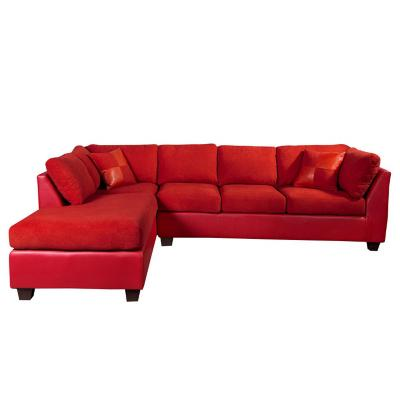 Sofá seccional padua izquierdo pu velvet rojo