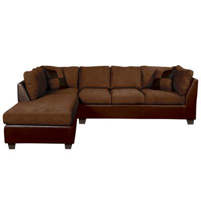Sofá seccional padua izquierdo pu velvet marrón
