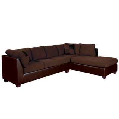 Sofá seccional padua derecho pu velvet marrón