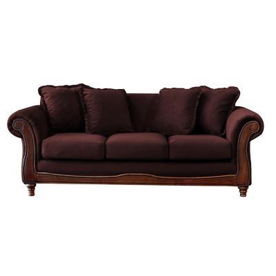 Sofá rimini 3c tela soft velvet chocolate