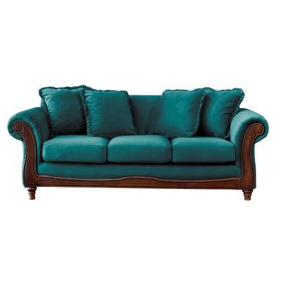 Sofá rimini 3c tela soft velvet turquesa
