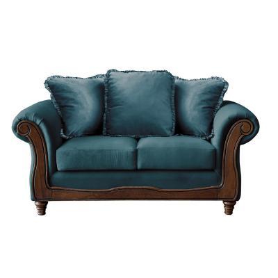 Sofá rimini 2c tela soft velvet azul petroleo