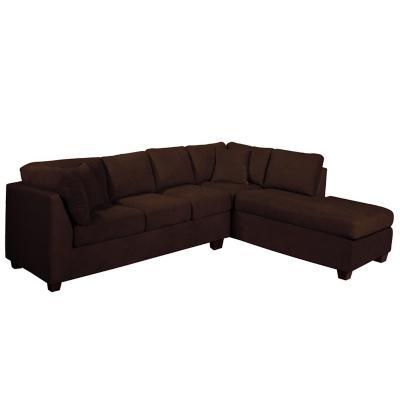 Sofá seccional padua derecho tela velvet chocolate