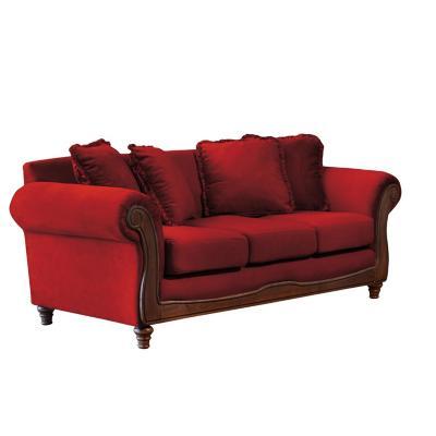 Sofá rimini 3c tela soft velvet burdeo