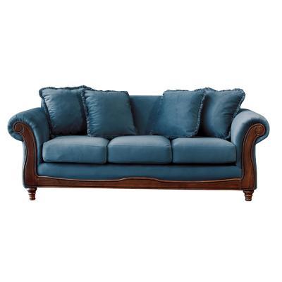 Sofá rimini 3c tela soft velvet azul petroleo