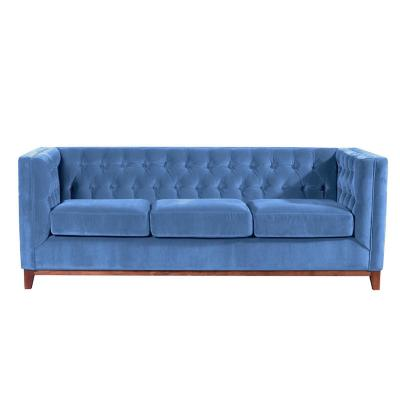 Sofá roma 3c tela soft velvet azul petroleo