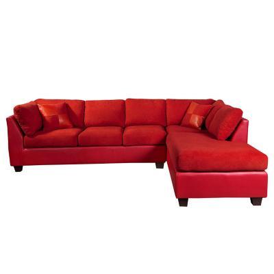 Sofá seccional padua derecho pu velvet rojo