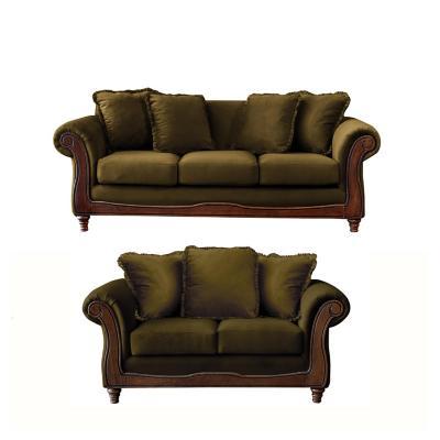 Juego living rimini 3-2 tela soft velvet verde