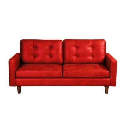Sofá napoles 3c cuero kentucky rojo
